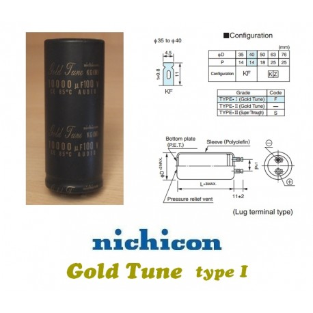 Nichicon KG 10000uF 100V 'Gold Tune'