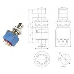 Taiwan 3PDT BLU interruttore a pressione pin a saldare, pushbutton switch