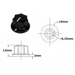 Manopola MXR style NERA 19mm, fissaggio a vite