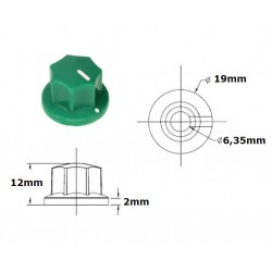 Manopola MXR style VERDE 19mm, fissaggio a vite