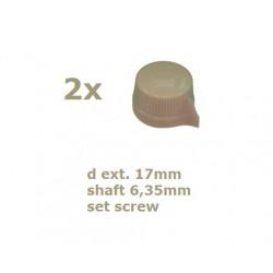 2x Manopola stile Davies 1400, CREMA, 17mm, fissaggio a vite
