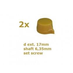 2x Manopola stile Davies 1400, GIALLA, 17mm, fissaggio a vite