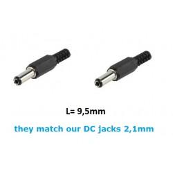 2x Plug DC coassiale per prese da 2,1mm, D: 5,5mm, L: 9,5mm