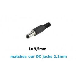 Plug DC coassiale per prese da 2,1mm, D: 5,5mm, L: 9,5mm