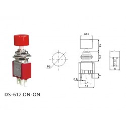 Daier DS-612, interruttore a pressione ON-ON, pin a saldare