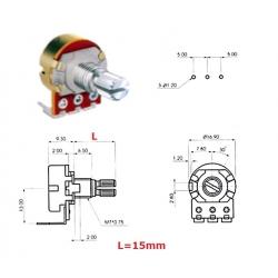 Alpha 16mm 1KA, potenziometro LOG mono (2D5, L: 15mm), pin PCB 90*