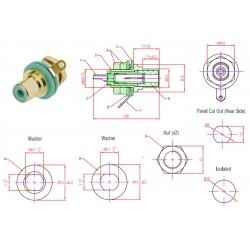 Neutrik Rean NYS367-5, jack RCA VERDE, montaggio a pannello