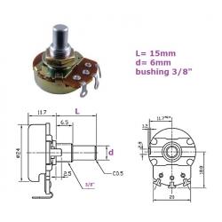 Alpha 24mm 500KB, bussola 3/8'', potenziometro LIN mono