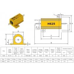 Arcol HS 25W, 0,33 ohm (0R33), resistenza per dissipatore HS25-0R33J