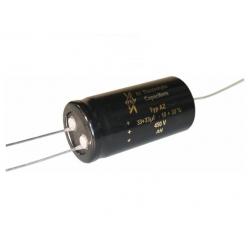 F&T Fischer & Tausche 33+33uF/450V, condensatore assiale elettrolitico doppio 25x50mm