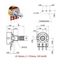ECC 16mm 25KA, potenziometro logaritmico mono (2A1, L: 15mm)