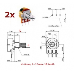 2x ECC 16mm 1KB, potenziometro lineare mono (2A1, L: 15mm)