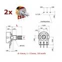 2x ECC 16mm 5KA, potenziometro logaritmico mono (2A1, L: 15mm)