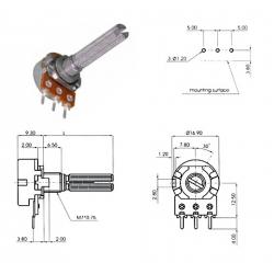 ECC 16mm 250KA, potenziometro LOG mono (4A1, L: 25mm)