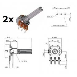 2x ECC 16mm 500KA, potenziometro LOG mono (4A1, L: 25mm)