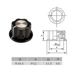 Manopola BOSS style NERA 19mm, silver top e indicatore bianco