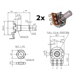 2x ECC 16mm 500KB, potenziometro LIN mono (QB1, L: 15mm)