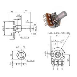ECC 16mm 250KA, potenziometro LOG mono (QB1, L: 15mm)
