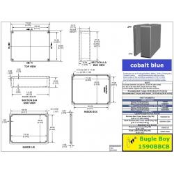 Bugle Boy 1590BBCB, contenitore alluminio pressofuso BLU COBALTO