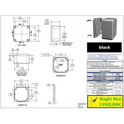 Bugle Boy 1590LBBK, contenitore NERO alluminio pressofuso, IP54