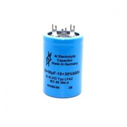 F&T Fischer & Tausche 50+50uF/500V, condensatore elettrolitico doppio LFAZ50050035050