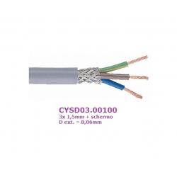 Belden CYSD03.00100, 3x 1,5mm cavo tripolare + schermo, D: 8,06mm (€x 1mt.)