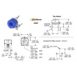 Bourns 3306F 100K, trimmer a regolazione verticale, 3306F-1-104