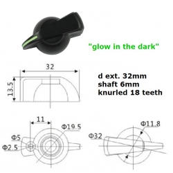 Chia Shin ''glow in the dark'' BLACK ''Chicken Head'' knob, push on