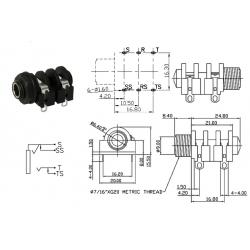 SC Precision jack 1/4' MONO, dado in plastica, 4 pin a saldare, switched, SCJ638R4NDSTBW0G