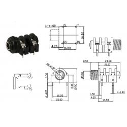 SC Precision jack 1/4' MONO, dado in plastica, 4 pin da PCB, switched, SCJ638R4NDSTBP0G