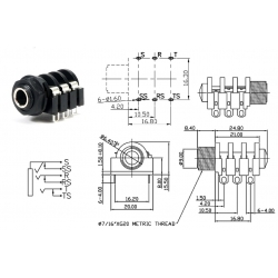SC Precision jack 1/4' STEREO, dado in plastica, 6 pin a saldare, switched, SCJ638R4NGSTBW0G
