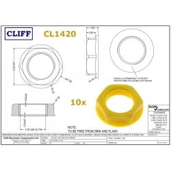10x Cliff CL1420, dado GIALLO per jack BJ102, BJ103, BJ104, BJ105