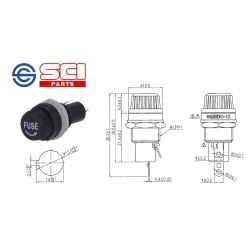 SCI Shin Chin R3-12E, portafusibile 5x20 da pannello, 250V/10A