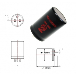 JJ Electronic 50+50uF/560V, condensatore elettrolitico doppio, solder lugs, 35x50mm