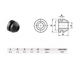 Passacavo pvc NERO, A: 6mm - B: 1mm - d: 3,5mm