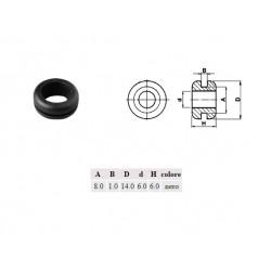 Passacavo pvc NERO, A: 8mm - B: 1mm - d: 6mm