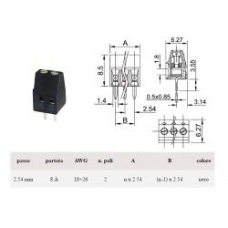 Morsettiera PCB due vie p: 2,54mm per cavi 18-26AWG