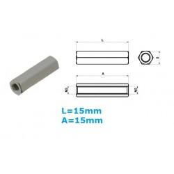 Distanziale in ottone esagonale, femmina/femmina, L: 15mm, 3MA