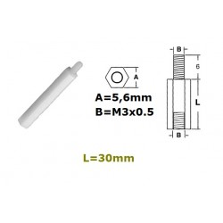 Distanziale in nylon esagonale, maschio/femmina, L: 30mm