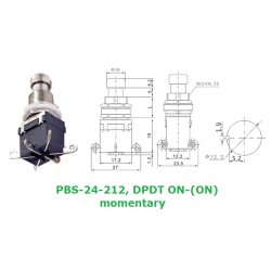 Daier PBS-24-212 interruttore DPDT a pressione MOMENTANEO, ON-(ON), pin a saldare