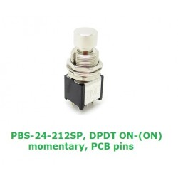 Daier PBS-24-212SP interruttore DPDT a pressione MOMENTANEO ON-(ON), pin da PCB