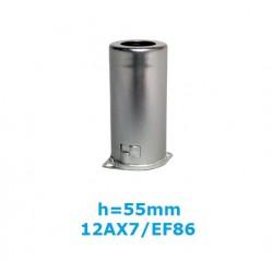 Aluminum shield h: 55mm for noval tubes (ECC83/EF86)