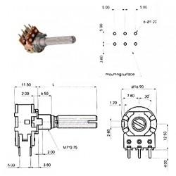 ECC 16mm 1MAx2, potenziometro STEREO LOG 41 MICROSCATTI (4A1, L: 25mm)