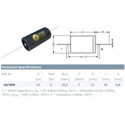 F&T Fischer & Tausche 10uF/450V, condensatore elettrolitico assiale, A10045012030, 12x30mm