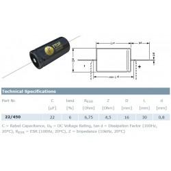 F&T Fischer & Tausche 22uF/450V, condensatore elettrolitico assiale, A22045016030, 16x30mm