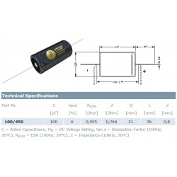 F&T Fischer & Tausche 100uF/450V, condensatore elettrolitico assiale, A10145021036, 21x36mm