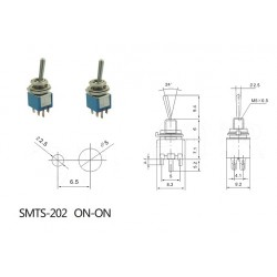 2x Daier SMTS-202, interruttore SUB-miniatura a levetta, pin a saldare, DPDT, ON-ON