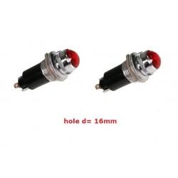 2x Daier DR016, gemma rossa con portalampadina e lampadina 6,3v, economica