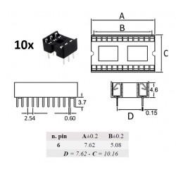 10x Ninigi DIP6, zoccolo per integrati 6 pin