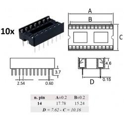 10x Ninigi DIP14, zoccolo per integrati 14 pin
